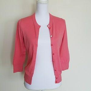 Peach/coral J. Crew 3/4 sleeves cardigan.